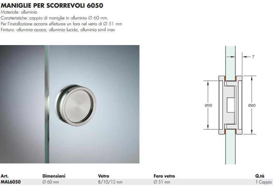 Maniglia mal6050 tonda 60 incasso alluminio per porte in - Maniglie porte vetro ...