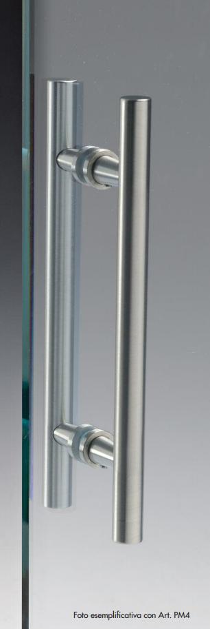 Maniglia pm ottone alluminio doppia tonda per porte in - Maniglie porte vetro ...