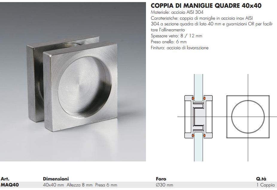 Maniglia maq40 quadra 40 incasso inox per porte in vetro - Maniglie porte vetro ...