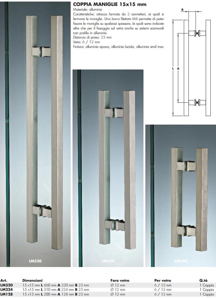 Maniglia LM® alluminio doppia quadra per porte in vetro - Sistemi ...