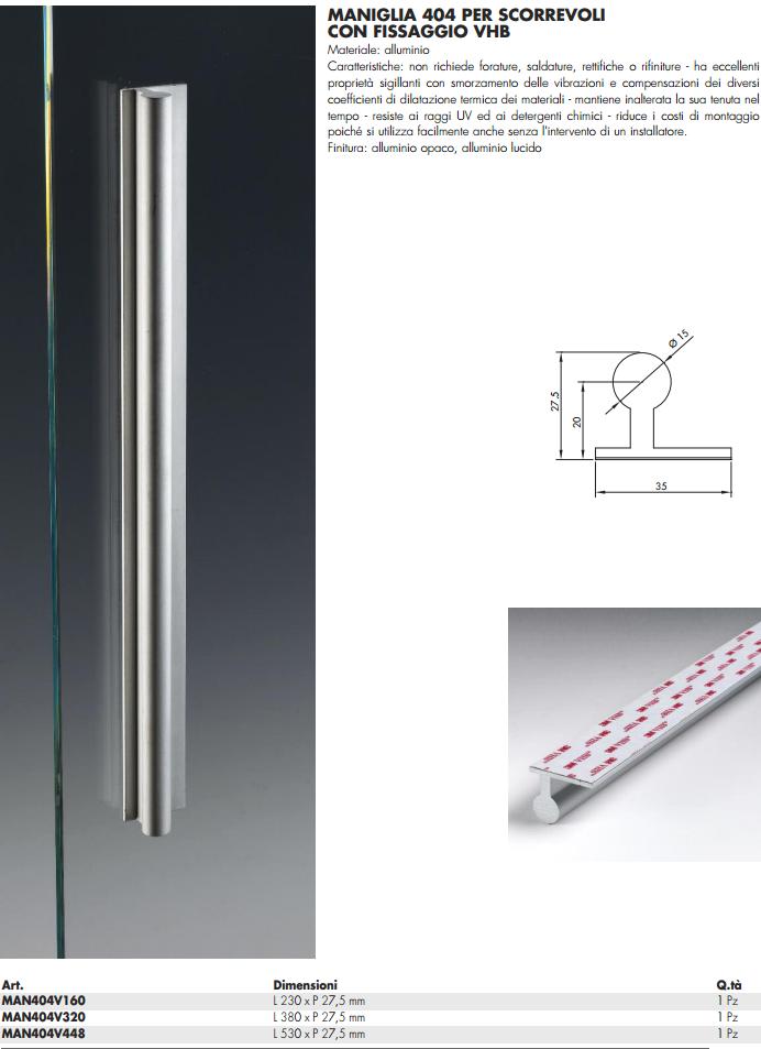 Maniglia MAN404V® alluminio da appoggio per porte in vetro