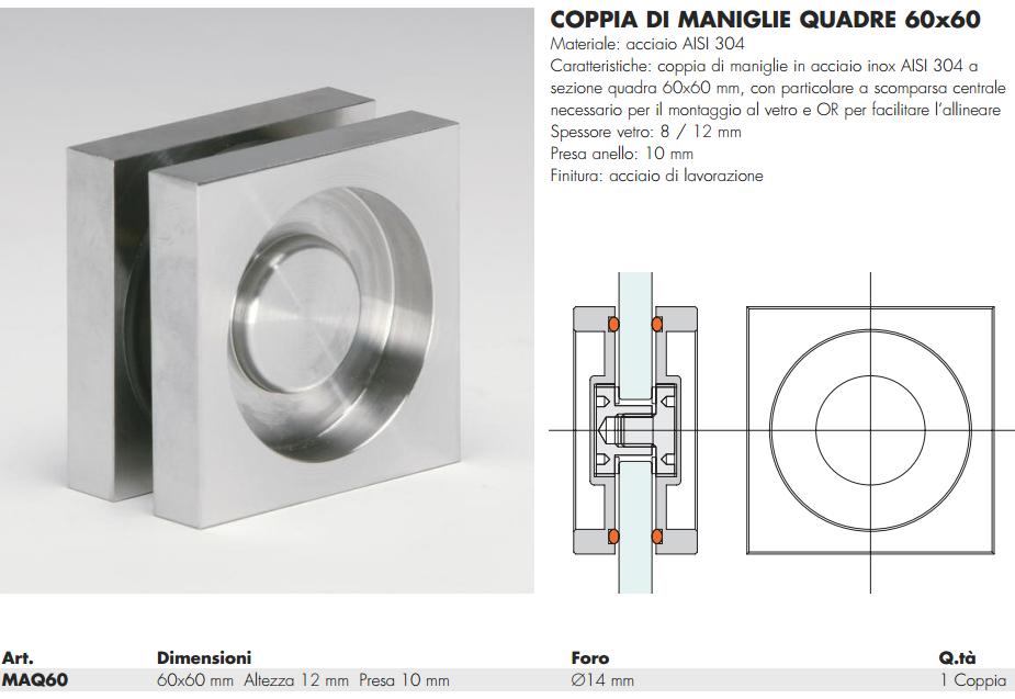 Maniglia MAQ60® quadra 60 incasso inox per porte in vetro