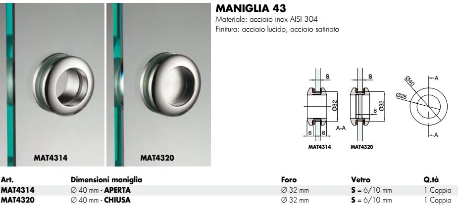 Maniglia MAT43® tonda 40 incasso inox smusso per porte in vetro