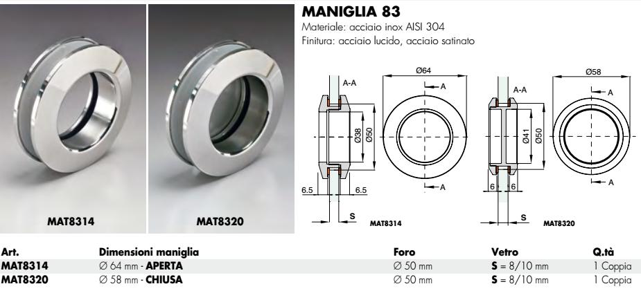 Maniglia MAT83® tonda incasso inox smusso per porte in vetro