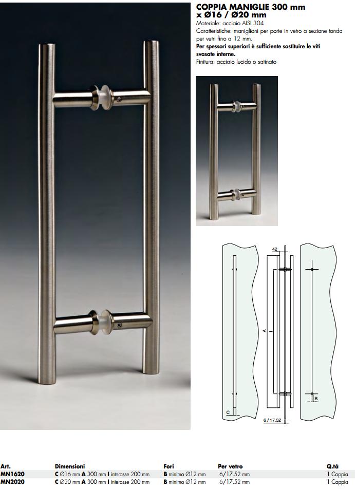 Maniglia MN® inox doppia tonda per porte in vetro