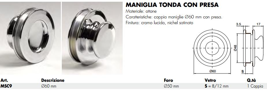 Maniglia MSC9® tonda 60 incasso ottone con presa per porte in vetro