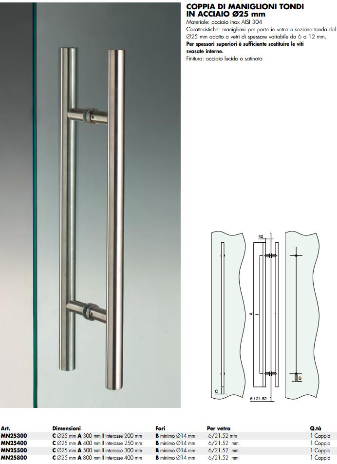 Maniglioncino MN25® inox doppio tondo per porte in vetro