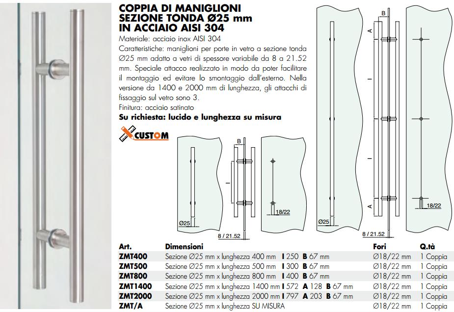 Maniglione ZMT® inox doppio tondo per porte in vetro
