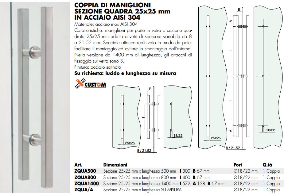 Maniglione ZQUA® inox doppio quadro per porte in vetro