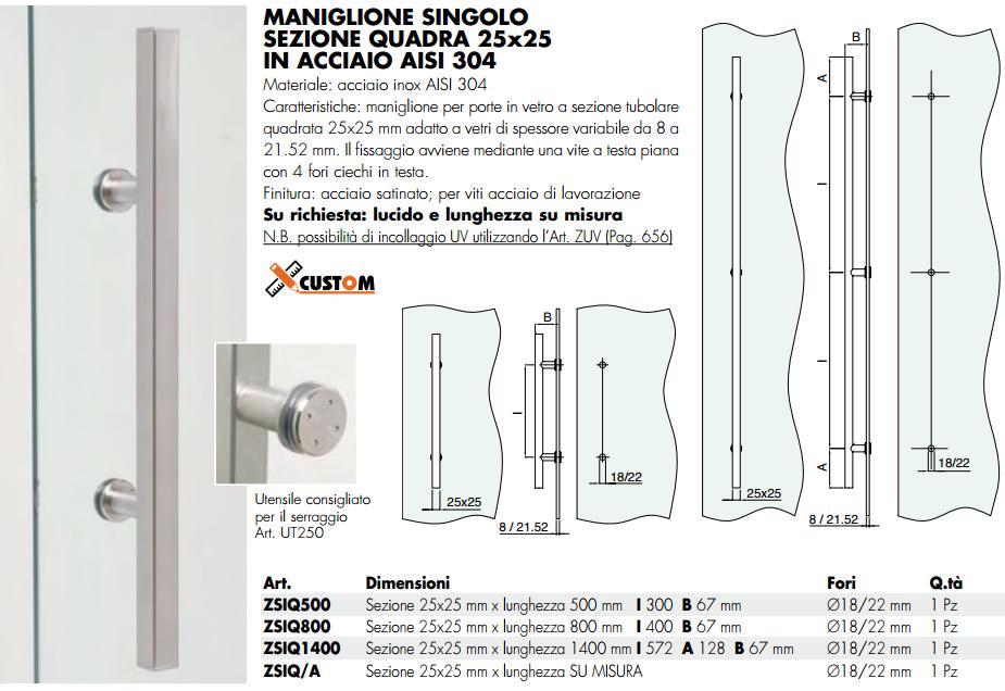 Maniglione ZSIQ® inox singolo quadro per porte in vetro