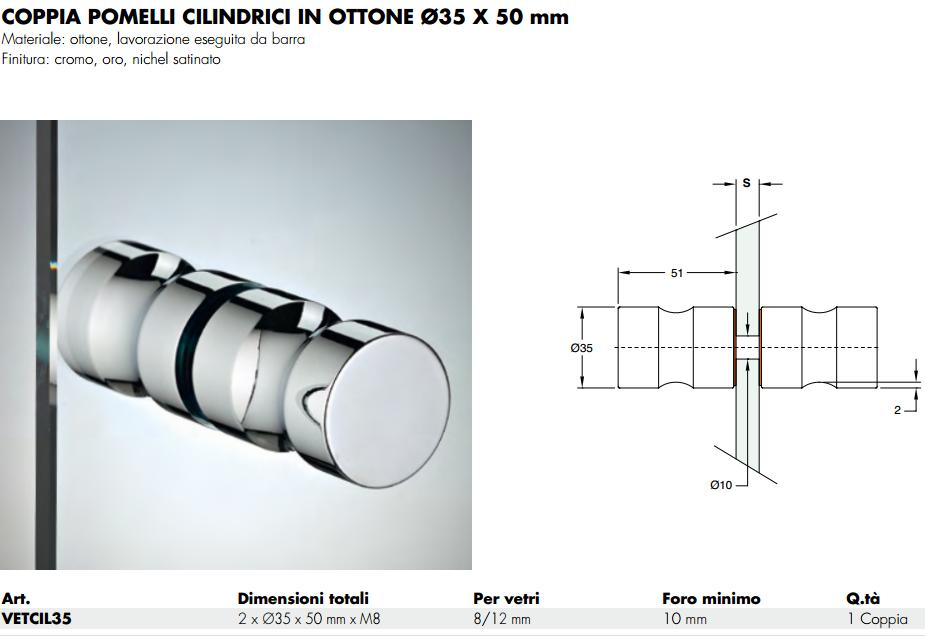 Pomolo VETCIL35® cilindro ottone doppio 35 per porte in vetro