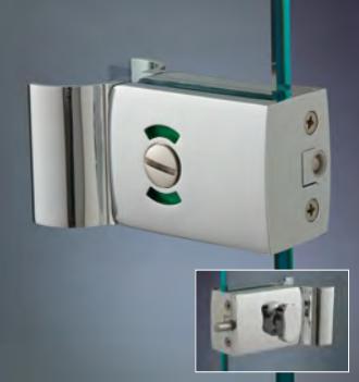 Chiusure serie 200 senza fori sul vetro chiusura di riservatezza serie 200 libero/occupato con maniglia CLM25®