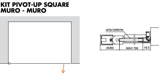 Kit pivot-up square muro - muro PTUPSQ205®
