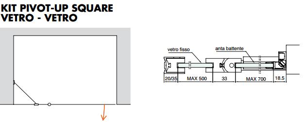 Kit pivot-up square vetro - vetro PTUPSQ206®