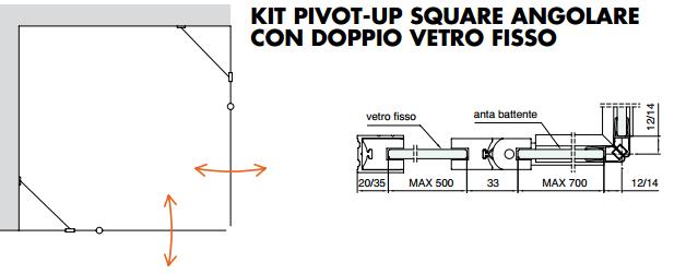 Kit pivot-up square angolare con doppio vetro fisso PTUPSQ209®