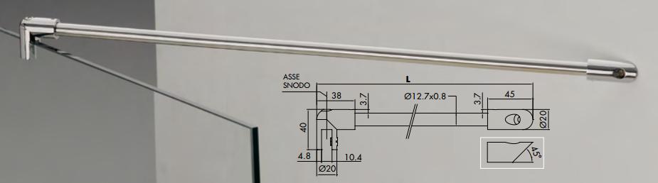 Asta di sicurezza mf 129 muro / vetro 45° MF129®
