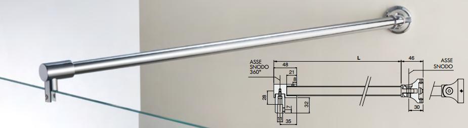 Asta di sicurezza snodata muro / vetro MF008670®