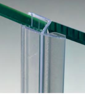 """Guarnizione per pareti doccia con battuta ad """"h"""" per vetri 6/8 mm GM01®"""