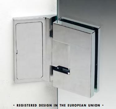 Cerniera con piastra a parete 135° serie hd square small regolabile per vetri 6/8 mm DQ375®