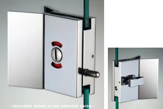 Chiusura di riservatezza libero/occupato serie hd square small con maniglia per vetri 6/8 mm DQC39®