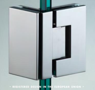 Cerniera 90° serie hd square regolabile per vetri 8/12 mm DQ490®