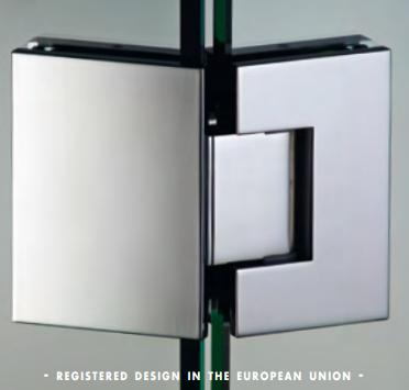 Cerniera 135° serie hd square regolabile per vetri 8/12 mm DQ4135®