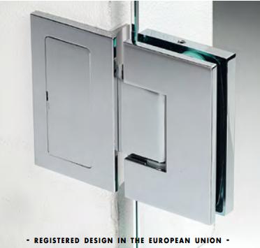 Cerniera con piastra a parete in linea serie hd square regolabile per vetri 8/12 mm DQ475®