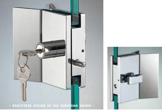 Chiusura con pomello/serratura serie hd square con maniglia per vetri 10/12 mm DQC53®