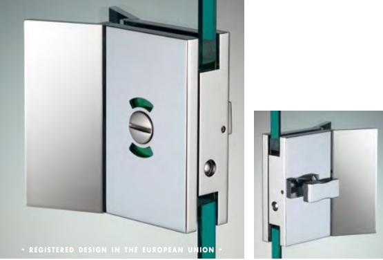 Chiusura di riservatezza libero/occupato serie hd square con maniglia per vetri 10/12 mm DQC59®