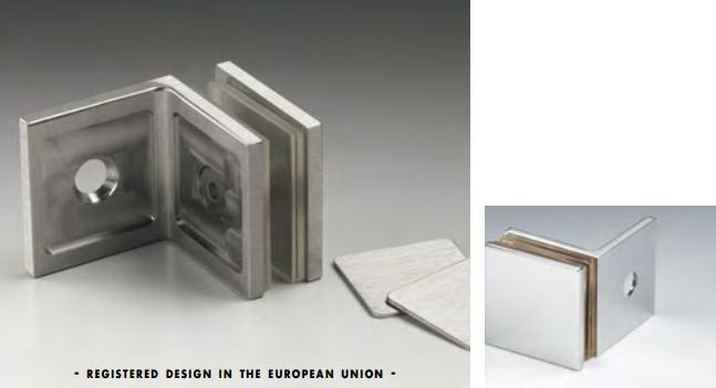 Morsetto muro/vetro 40x40 mm serie hd square per vetri 6/12 mm DQM52®