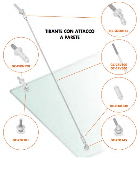 Kit tirante con attacco a parete Pensilina Glass Canopy GC-CAV1100-1300®
