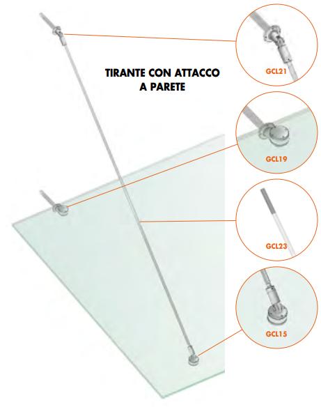 Kit tirante con attacco a parete Pensilina Glass Canopy Light GC-CAV15®