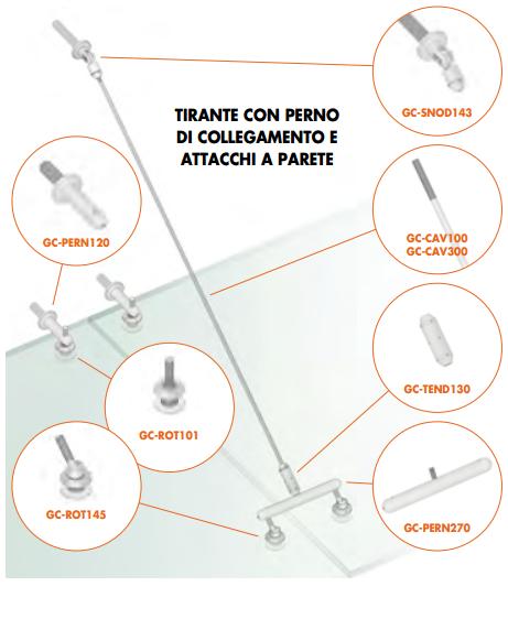 Kit tirante con perno di collegamento e attacchi a parete Pensilina Glass Canopy GC-PEROUT155-355®