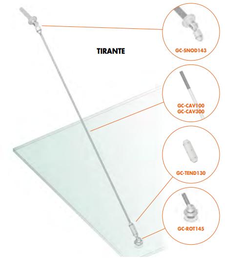 Kit tirante Pensilina Glass Canopy GC-SNOD1100-1300®