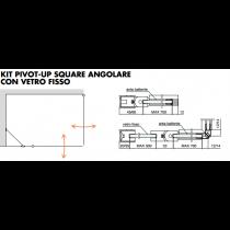 Kit pivot-up square angolare con vetro fisso PTUPSQ208®